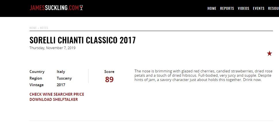 Chianti Classico Sorelli 89 punti